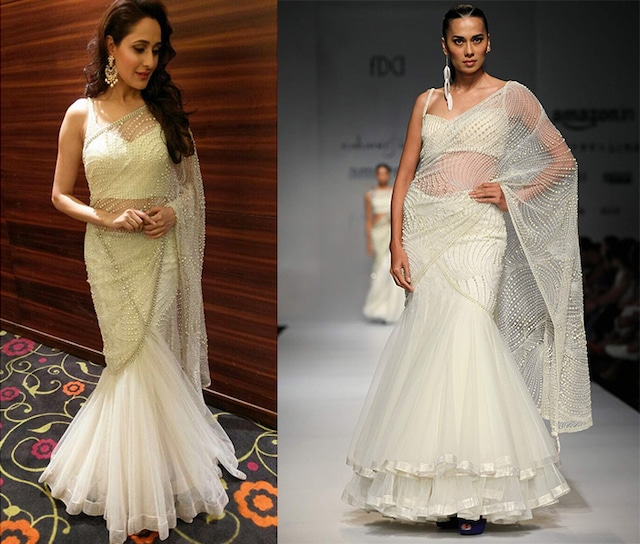 Ivory pearl fern jaal drape lehenga sari with embellished tablet blouse by RABANI & RAKHA