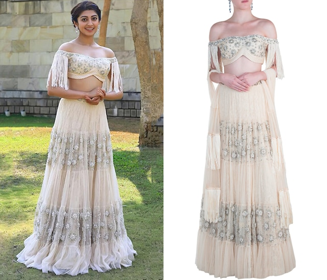 Off White Tassels Embroidered Lehenga Set by AWIGNA by Varsha and Rittu
