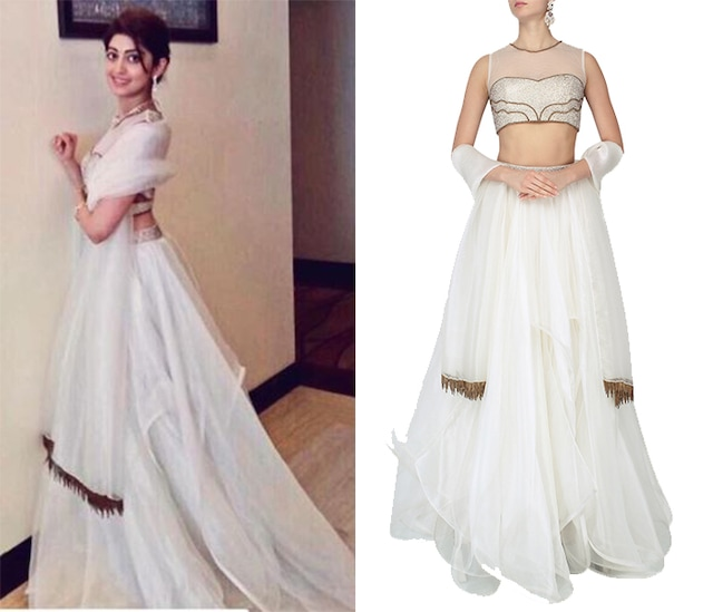 Ivory Organza Layer Lehenga and Embroidered Blouse Set by Nitika Kanodia Gupta
