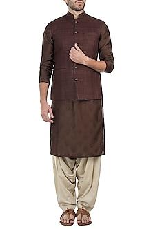 Brown nehru jacket by Pranay Baidya Men