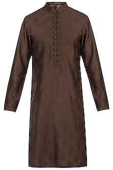 Brown embroidered kurta by Pranay Baidya Men