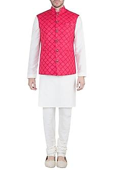 Blush Pink & Red Block Printed Nehru Jacket by Pranay Baidya Men