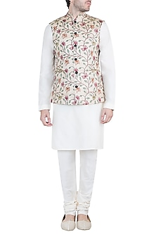 Beige Kantha Stitch Nehru Jacket by Pranay Baidya Men