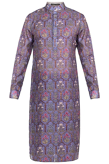Dull Purple Printed Mughal Kurta by Pranay Baidya Men