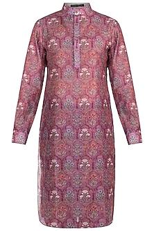 Dull Pink Printed Mughal Kurta by Pranay Baidya Men