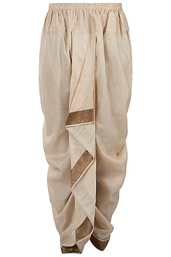 Ivory drape dhoti pants by Pranay Baidya Men