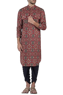 Red and blue abstract print kurta by Pranay Baidya Men