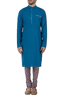 Blue printed kurta with pants by Pranay Baidya Men