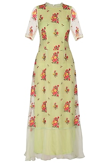 Green Embroidered Maxi dress by Pranay Baidya