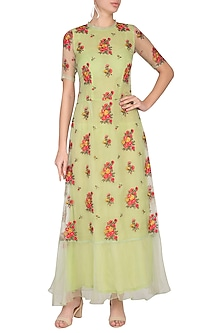 Green Embroidered Maxi dress by Pranay Baidya