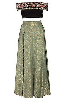 Green Pleated Lehenga Skirt With Dupatta & Embroidered Top by Pranay Baidya