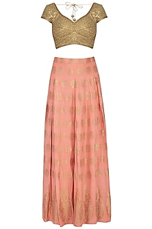 Peach Embroidered Brocade Lehenga Set by Pranay Baidya