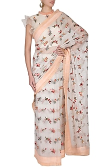 White Embroidered Floral Saree Set by Pranay Baidya