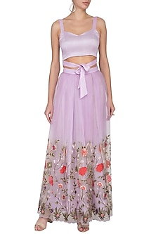 Lilac Embroidered Lehenga Skirt With Knotted Blouse by Pranay Baidya