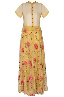 Yellow Embroidered Skirt With Shirt by Pranay Baidya