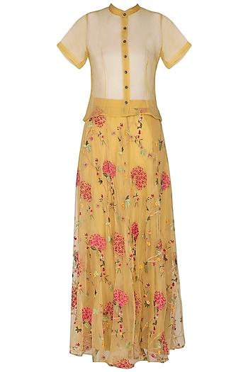 Yellow Embroidered Skirt With Shirt by Pranay Baidya