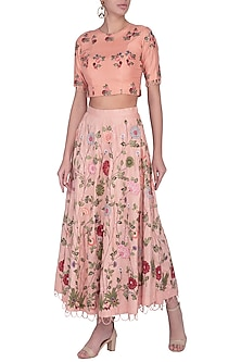 Peach Embroidered Skirt With Top by Pranay Baidya
