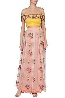 Nude Pink Embroidered Lehenga Skirt With Off Shoulder Blouse by Pranay Baidya