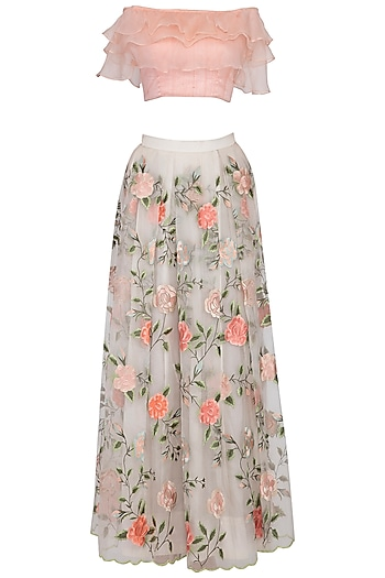 Light Peach Embroidered Lehenga Skirt With Blouse by Pranay Baidya