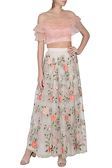 Light Peach Embroidered Lehenga Skirt With Blouse by Pranay Baidya