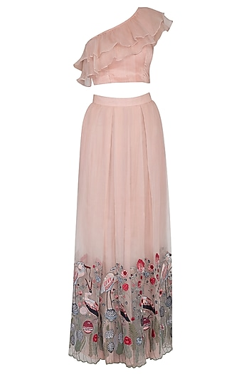 Light Peach Embroidered Lehenga Skirt With Top by Pranay Baidya