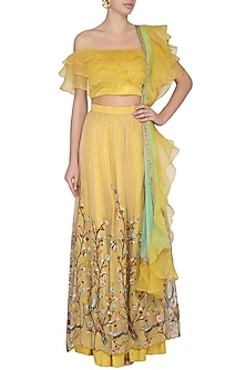 Yellow Embroidered Ruffled Lehenga Set by Pranay Baidya