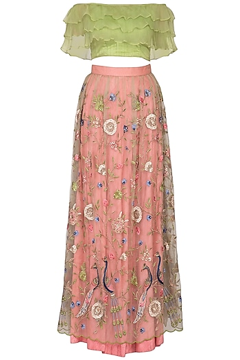 Pink & Green Embroidered Lehenga Set by Pranay Baidya