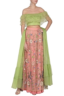 Pink & Green Embroidered Lehenga Set by Pranay Baidya