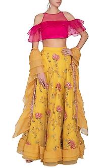 Yellow Embroidered Lehenga Set by Pranay Baidya