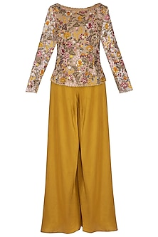 Multi Colored Embroidered Jacket With Pants & Dupatta by Pranay Baidya
