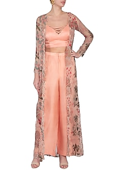 Peach Embroidered Jacket With Pants & Top by Pranay Baidya