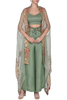 Pistachio Top With Pants & Embroidered Cape by Pranay Baidya