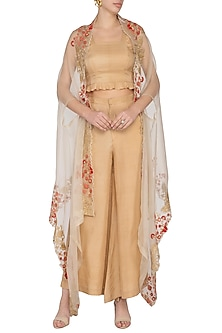 Beige Embroidered Cape With Pants & Top by Pranay Baidya