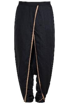 Black & Gold Dhoti Pants by Pranay Baidya Men