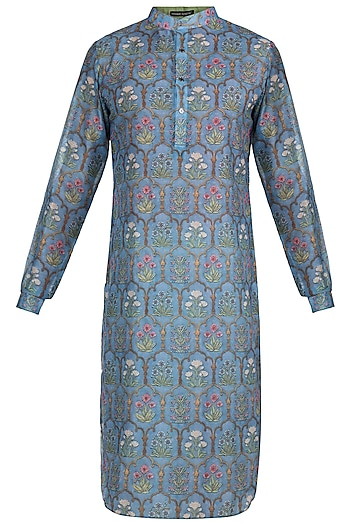 Dull Blue Printed Kurta by Pranay Baidya Men