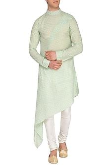 Green Printed Asymmetrical Draped Kurta by Pranay Baidya Men