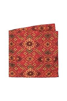 Red Hand Block Printed Pocket Square by Pranay Baidya Men