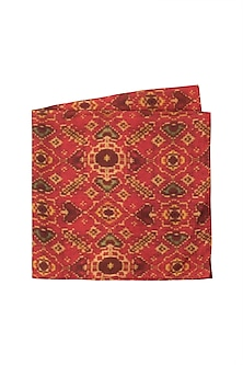 Red Hand Block Printed Pocket Square by Pranay Baidya Men