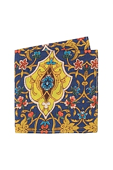 Navy Blue Printed Pocket Square by Pranay Baidya Men