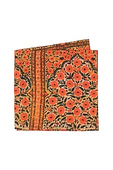 Orange & Blue Block Printed Pocket Square by Pranay Baidya Men