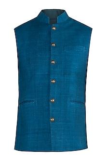Indigo blue nehru jacket by Pranay Baidya Men