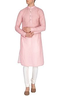Pink Screen Printed Kurta by Pranay Baidya Men