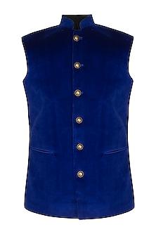 Royal Blue Velvet Nehru Jacket by Pranay Baidya Men