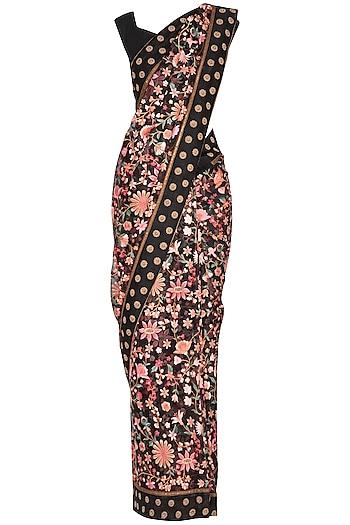 Black Parsi Embroidered Saree Set by Pranay Baidya