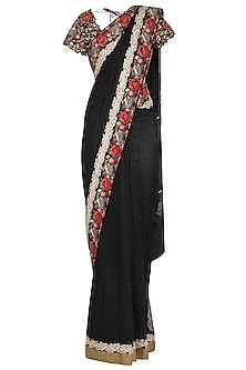 Black Parsi Embroidered Jamdani Saree Set by Pranay Baidya