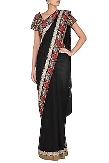 Black Parsi Embroidered Jamdani Saree Set by Pranay Baidya
