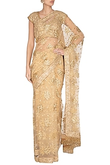 Beige Embroidered Sequins Saree Set by Pranay Baidya
