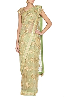 Mint Green Embroidered Saree Set by Pranay Baidya
