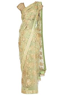 Mint Green Embroidered Saree Set by Pranay Baidya