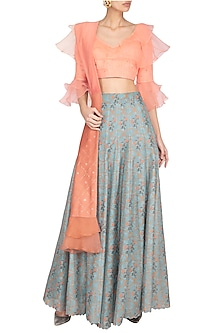 Steel Grey & Peach Embellished & Printed Lehenga Set by Pranay Baidya